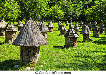 Apiary with unusual hives in the mountains of Abkhazia in...