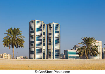 General view of modern buildings in Sharjah - SHARJAH, UAE -...