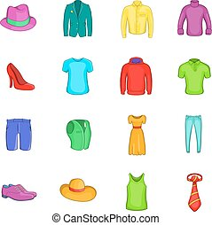 Clothes icons set, cartoon style - Clothes icons in cartoon...