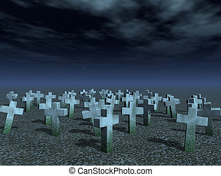 cemetary - stone crosses under dark night sky - 3d...