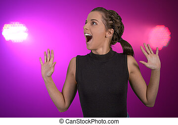 Beautiful Young Party Woman - Pretty young lady with excited...