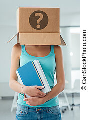 Insecure female student with a box on her head and a...