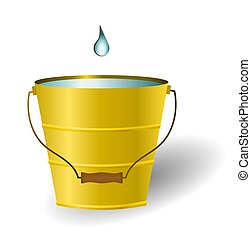 Just A Drop In The Bucket - Illustration of a single water...