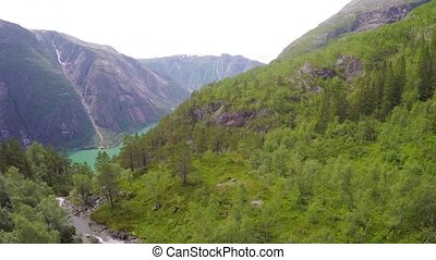 Aerial view of the a beautiful fjord in Hardanger Norway -...
