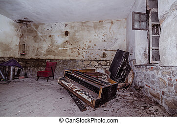 old piano in room
