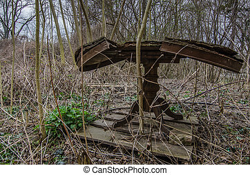 old wooden table in nature
