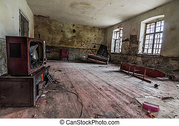 abandoned room with objects - abandoned old room with many...