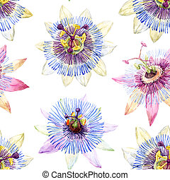 Watercolor passion flower pattern - Beautiful pattern with...