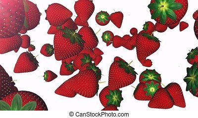 Strawberry - Delicious strawberries hanged in the air.