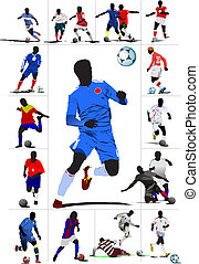 Poster Soccer football player. Col