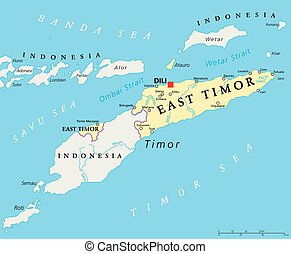 East Timor Political Map - East Timor political map with...
