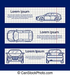 Web banners with car silhouettes on the notebook pages....