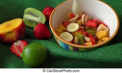 Delicious fruits salad in the bowl