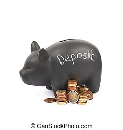 Ceramic piggy bank container isolated - Word Deposit written...