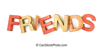 Word made of wooden letters isolated - Word Friends made of...