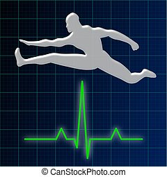 Man Jumping Over Heart Rate - Illustration of the silhouette...