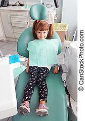 很少, 牙醫, 女孩, 坐