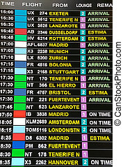arrival display board at airport terminal showing international destinations flights