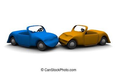 Car accident. 3d rendered illustration.