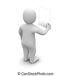 Man holding and looking at blank document. 3d rendered illustration.
