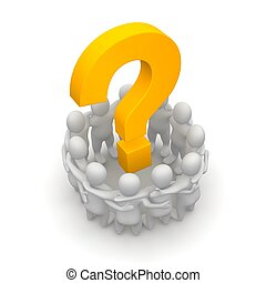 Group of people and question mark. 3d rendered illustration.