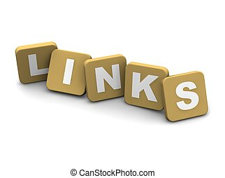 Links text. 3d rendered illustration isolated on white.
