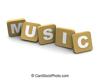 Music text. 3d rendered illustration isolated on white.