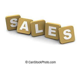 Sales text. 3d rendered illustration isolated on white.