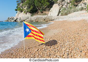 Catalan flag at beach