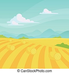Vector Countryside Landscape - Vector Illustration of a...