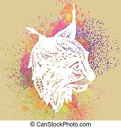 Vector Ornamental Lynx - Vector Illustration of an...