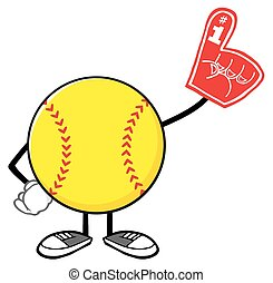 Softball Wearing A Foam Finger - Softball Faceless Cartoon...