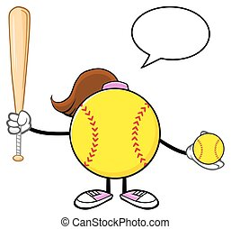 Softball Girl With Speech Bubble