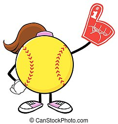 Softball Girl Wearing A Foam Finger