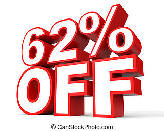 Discount 62 percent off. 3D illustration on white...