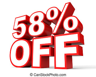Discount 58 percent off. 3D illustration on white...