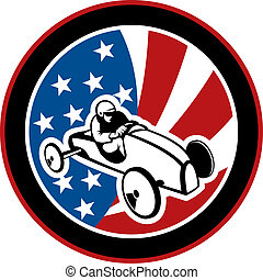american Soap box derby car with stars and stripes in the...