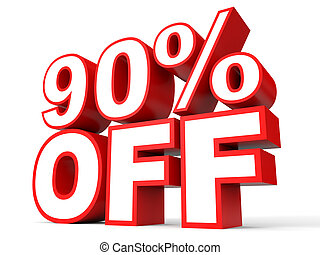 Discount 90 percent off 3D illustration on white background...
