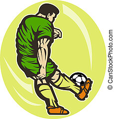 Soccer player kicking the ball viewed from the rear