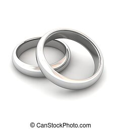 Wedding rings 3d rendered illustration