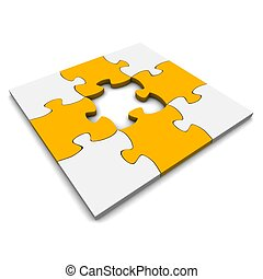 Jigsaw puzzle with missing piece. 3d rendered illustration.