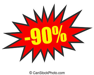 Discount 90 percent off. 3D illustration on white...