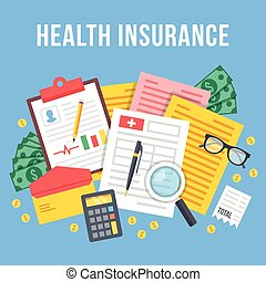 Health insurance, life insurance calculation concept. Top...