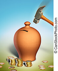 Savings - Hammer hitting a terracotta money box. Digital...