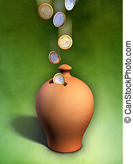 Money box - Euro coins entering a terracotta money box....