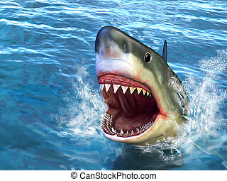 Shark attack - Great white shark jumping out of water with...