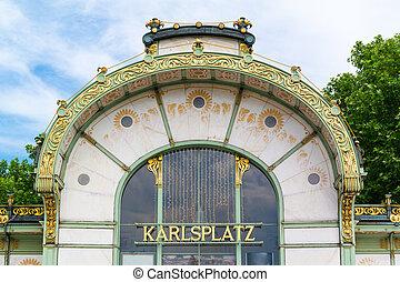 Stadtbahn pavilion on Karlsplatz square in Vienna, Austria -...