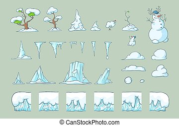 Winter Tile set for Platformer Game, Seamless vector ground...