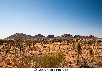 Panoramic View of Olgas - Panoramic View of the olgas in...