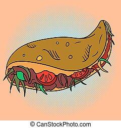 Taco Pop art vector illustration